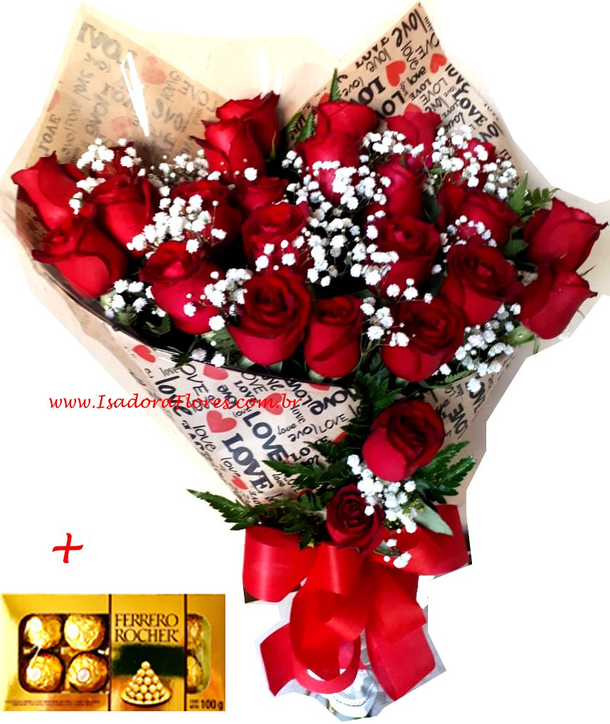 1062 Love Red com 24 rosas + Ferrero Rocher