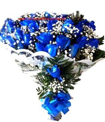 1075 Buquê 2 Dúzia de Rosas azuiss