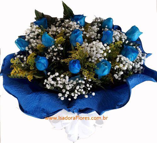 1878 Buquê com rosas Azuis no crepom