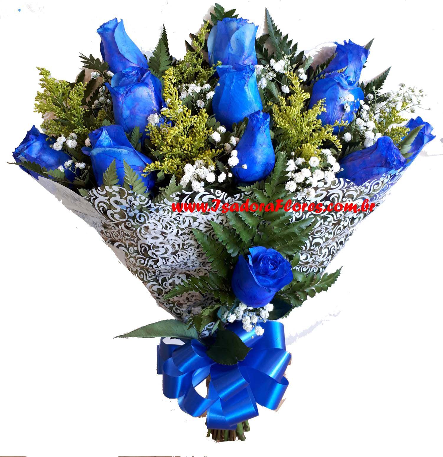2190 Buquê com 1 dúzia de Rosas Azuis