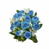 2739 Buquê Oceano - Rosas Azuis e Alstromélias