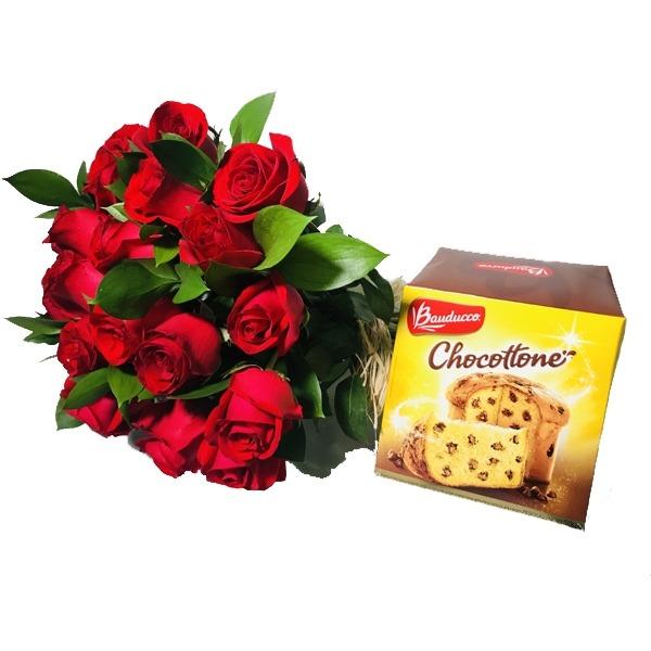 2742 Buquê de rosas com Chocotone Bauducco