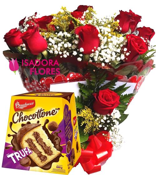 2752 Buquê 1 dz de Rosas + Chocottone Trufa