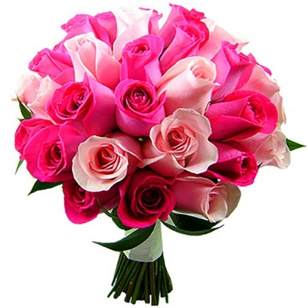 2761 Buquê Harmonia 36 Rosas Pink e Cor de Rosa