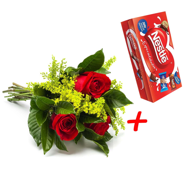 2799 Buquê com Rosas + Caixa de Bombom