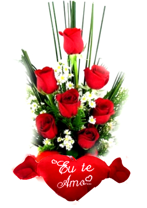 2882 Arranjo Ikebana 7 Rosas + Coração