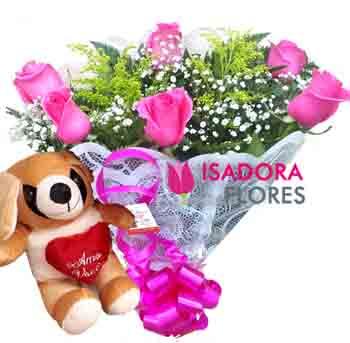 3028 Buquê de rosas cor de rosas + Pelúcia