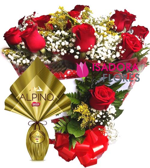 3118 Buquê de Rosas + Ovo Alpino