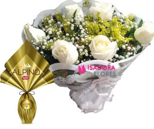 3120 Buquê Rosas Brancas + Ovo Alpino