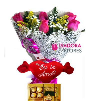 3223 Kit Buquê + Coração + Ferrero