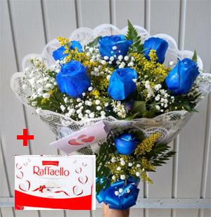 3244 Buquê azul + Raffaello