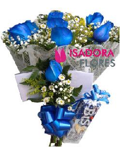 3246 Buquê com Rosas Azuis + Chocolate