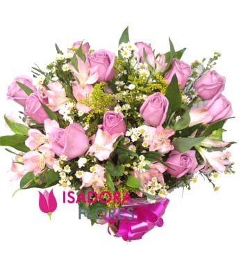 3449 Buquê com rosas e astromélias