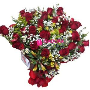 3509 Buquê 24 Rosas e Astromélias