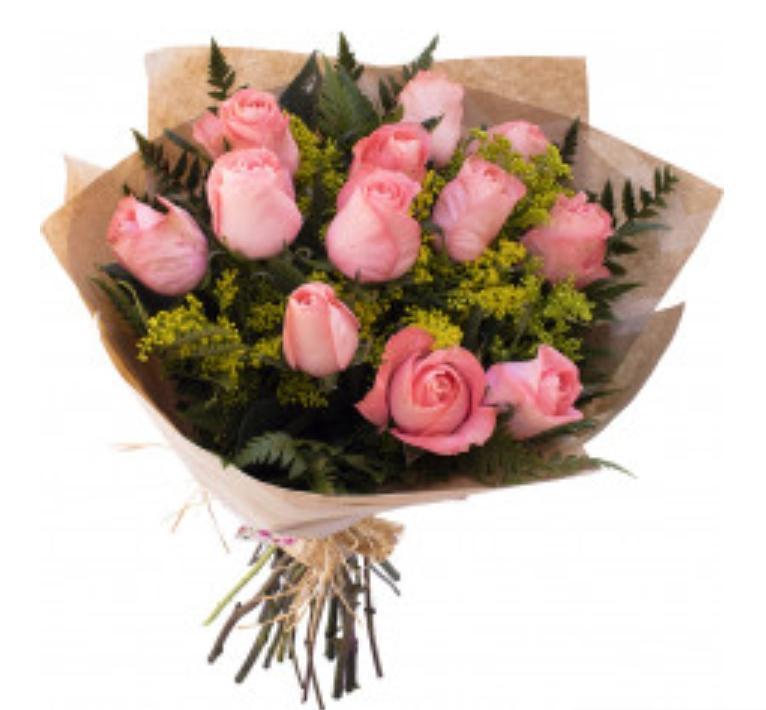 3951 My love ♥ com 12 rosas cor de rosa
