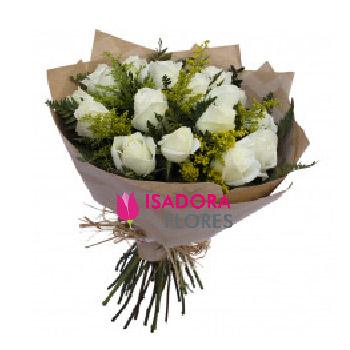 3953 Buquê Encanto com 12 Rosas Avalanches Brancas Kraft