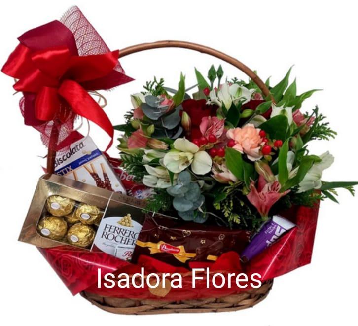 4120 Cesta de Chá com Flores e Chocolates ♥ Modern Charm