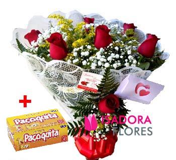 4552 Buquê com 7 Rosas + Paçoquita