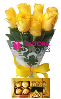 4862 Ramalhete Rosas Amarelas com Ferrero Rocher