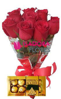 4863 Ramalhete com rosas e Ferrero