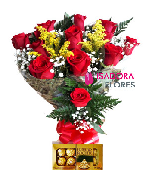 5007 Buquê rosas Colombianas + Ferrero Rocher