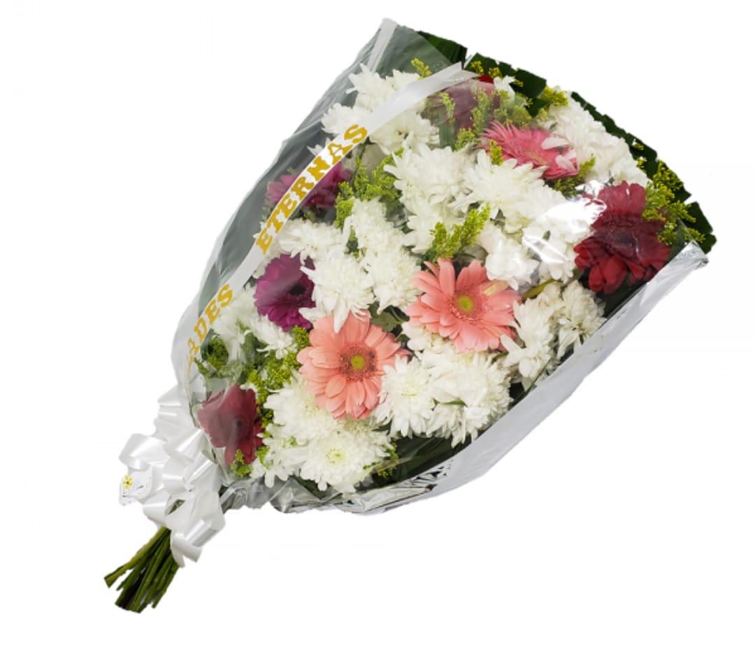 5190 Ramalhete para velório com flores do campo coloridas e faixa