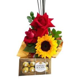 5278 Rosas e girassol com Ferrero